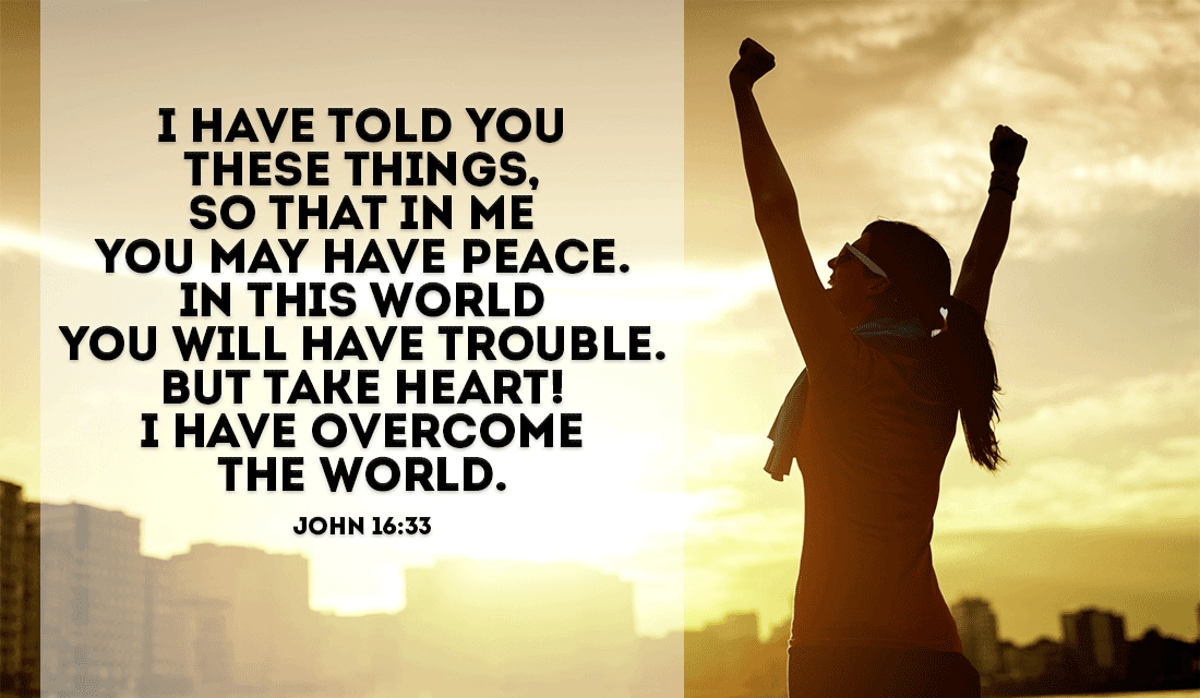 This world may contain heartache and Chaos, but Christ has overcome all of it! - John 16:33 ecard, online card