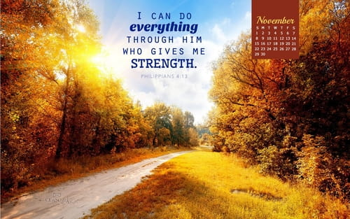 November 2015 Philippians 413 Desktop Calendar Free Monthly