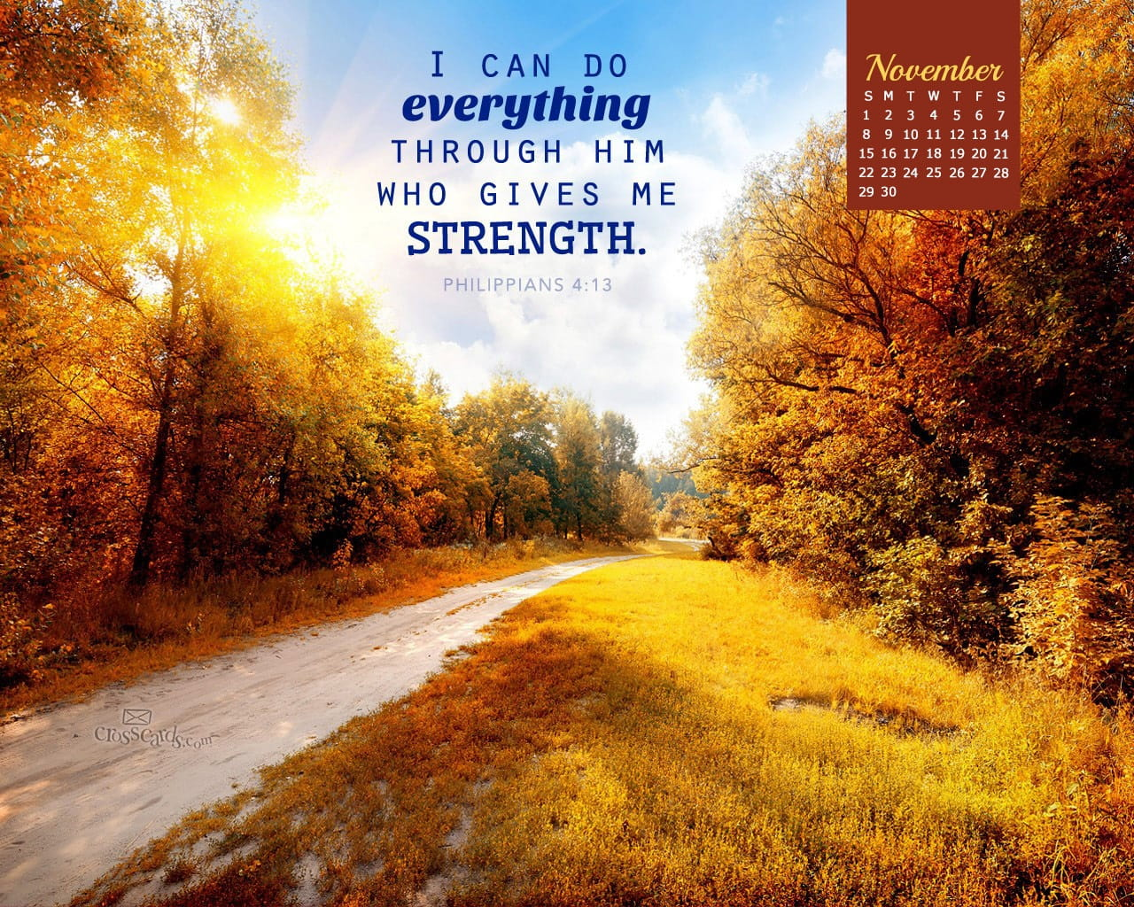 November 2015 Philippians 4 13 Desktop Calendar Free Monthly