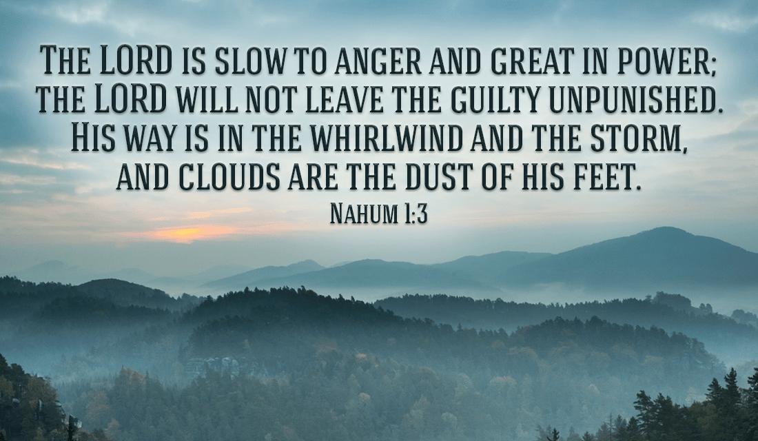 God will judge the Guilty -Nahum 1:3 ecard, online card