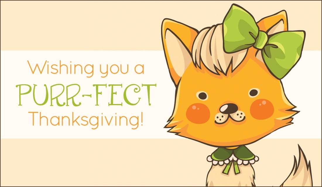 Wishing You  A Purr-Fect Thanksgiving ecard, online card