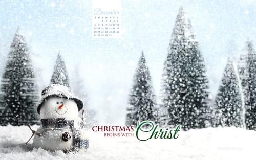 December 2015 - Christmas Begins With Christ mobile phone wallpaper