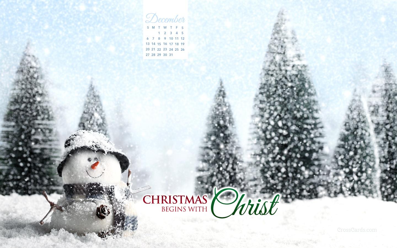 December 2015 Christmas Begins With Christ Desktop Calendar Free