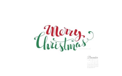 December 2015 - Merry Christmas Handwritten mobile phone wallpaper