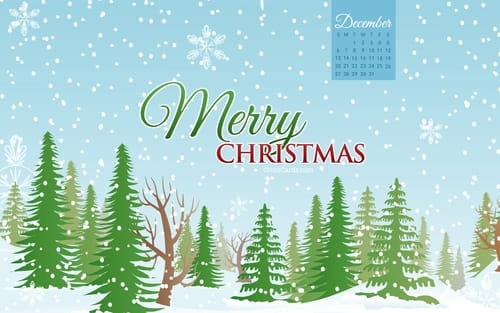 December 2015 - Merry Christmas Forest mobile phone wallpaper