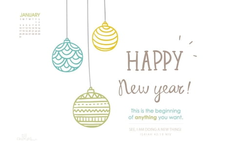 January 2016 - Happy New Year mobile phone wallpaper
