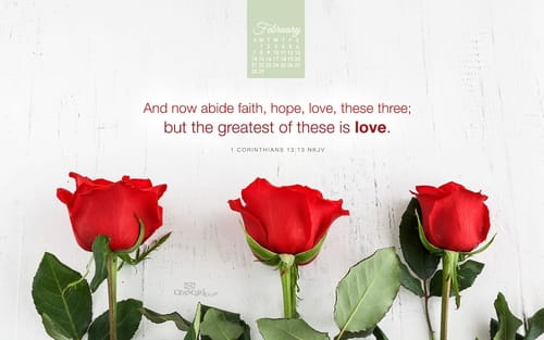 February 2016 - Faith Hope Love mobile phone wallpaper