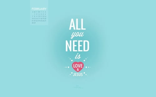 February 2016 - Love and Jesus mobile phone wallpaper