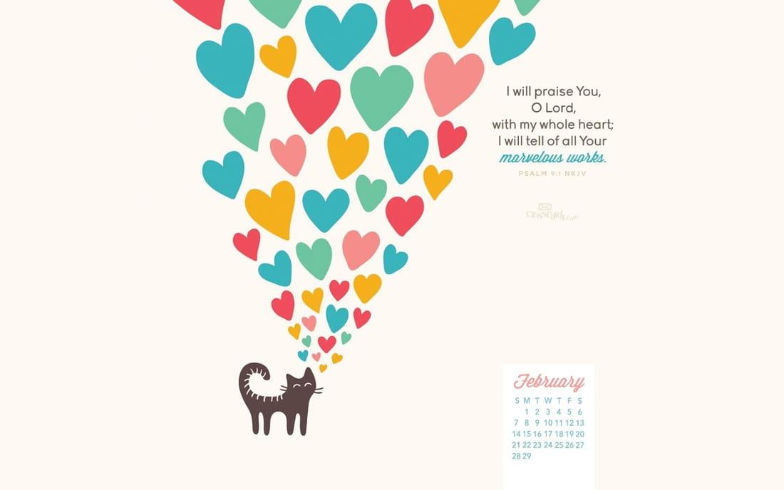 February 2016 - Psalm 9:1 - Marvelous Works mobile phone wallpaper