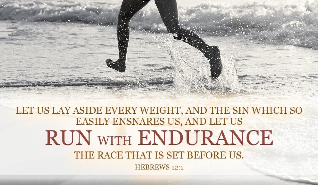 Don't let sin keep you down, cast your burdens on Him! - Hebrews 12:1 ecard, online card