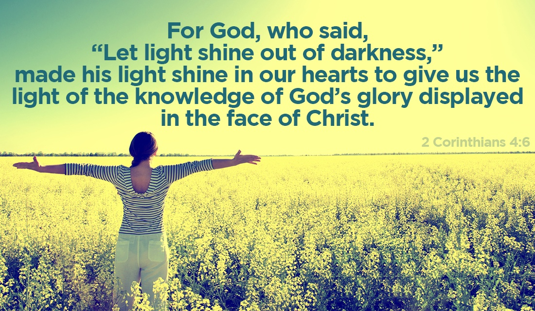 With God's Light, may you shine on the world! - 2 Corinthians 4:6 ecard, online card