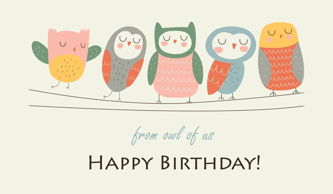 Happy Birthday From Owl Of Us Ecard Online Card