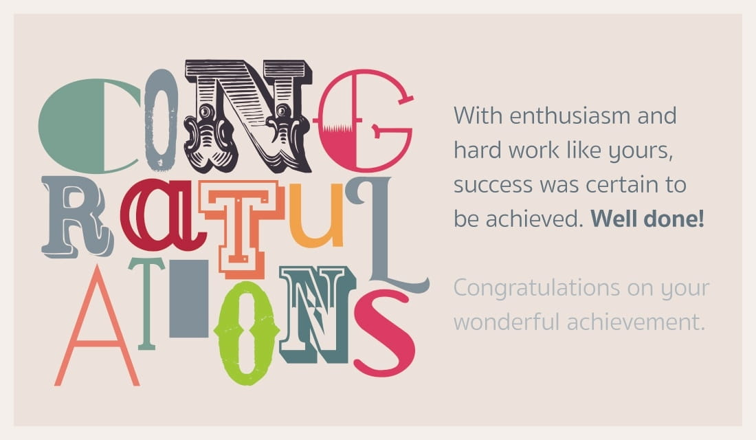 Congratulations! Well done. ecard, online card