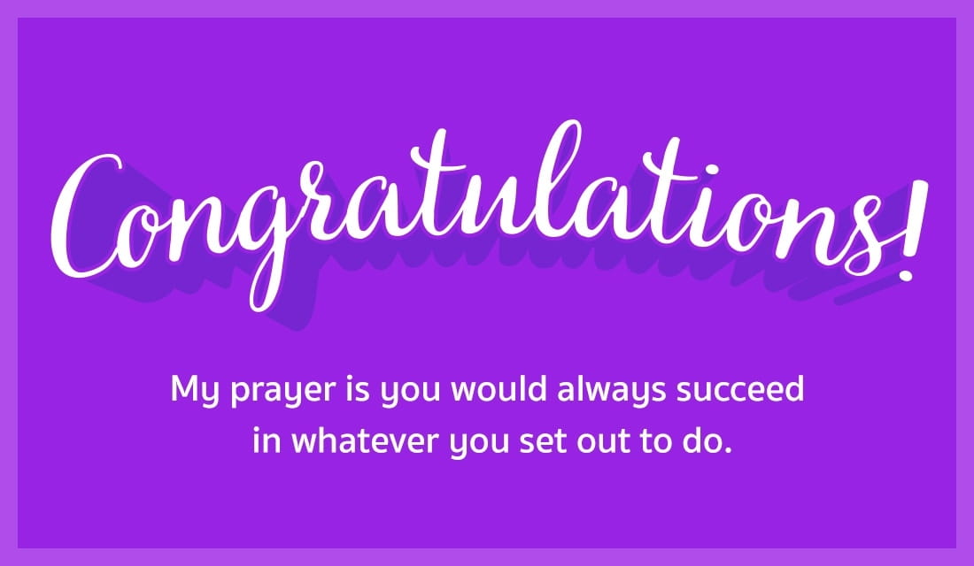 Congratulations! May you always succeed. ecard, online card