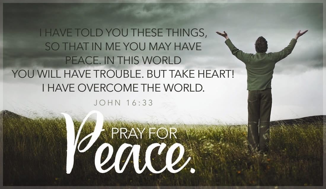 Pray for Peace - John 16:33 ecard, online card