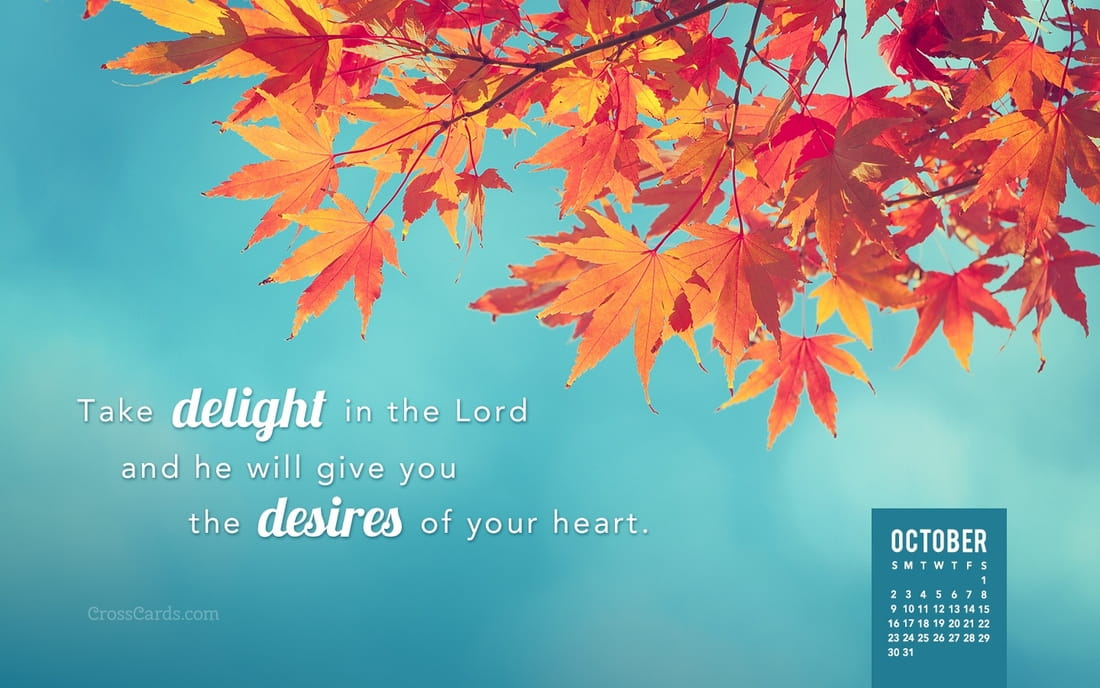 October 2016 - Take delight in the Lord mobile phone wallpaper