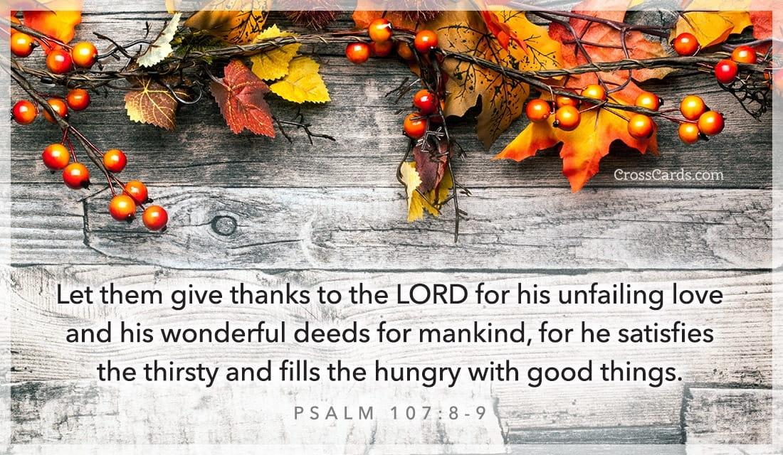Psalm 107:8-9 ecard, online card