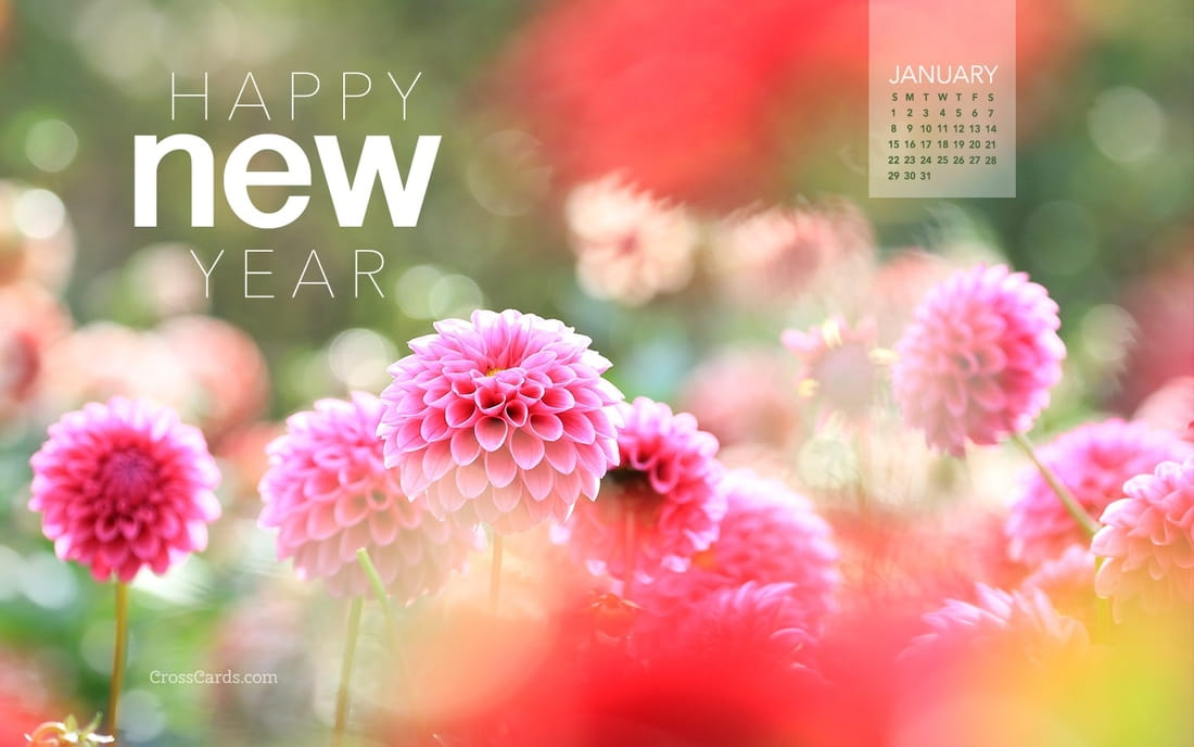 January 2017 - Happy New Year mobile phone wallpaper
