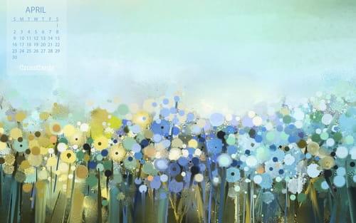 April 2017 - Field of Flowers mobile phone wallpaper
