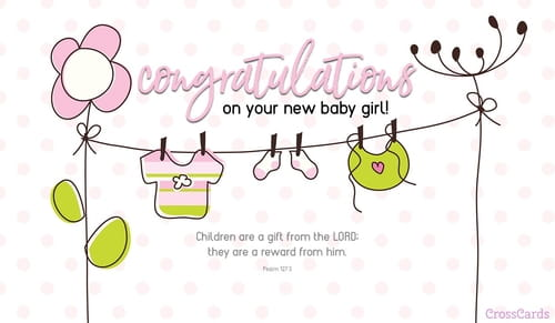 New Baby Girl ecard, online card