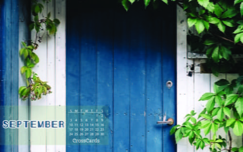 Amazing Home · Wallpaper · Monthly Calendars · September · September 2017   Blue  Door