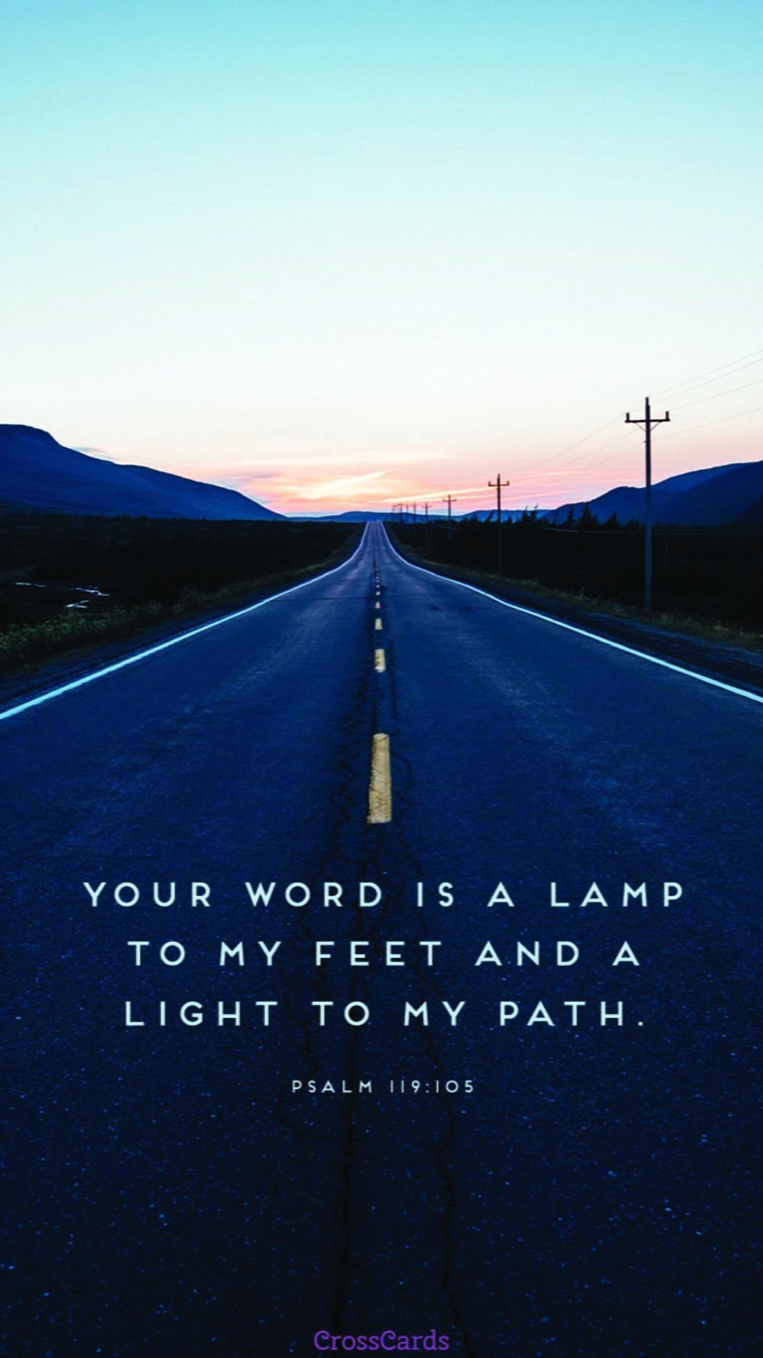 Psalm 119:105 mobile phone wallpaper