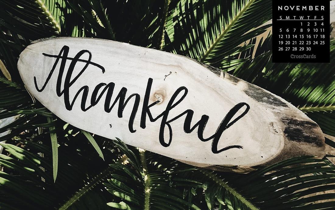 November 2017 - Thankful mobile phone wallpaper