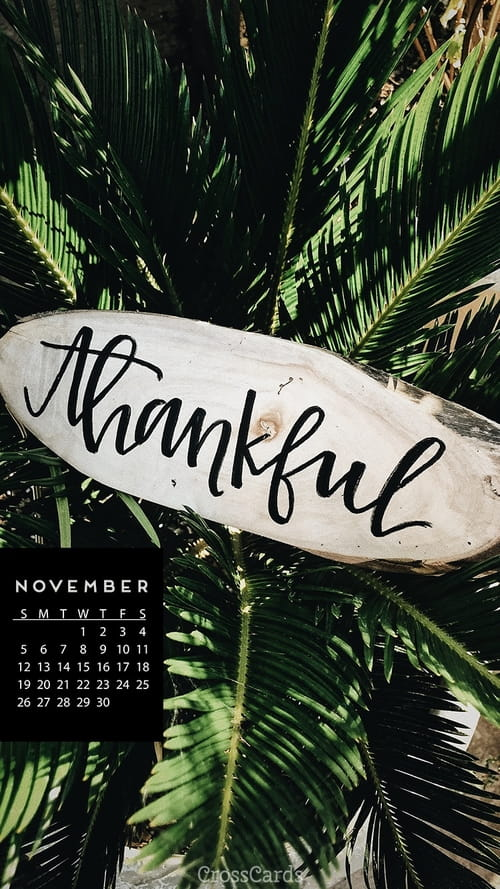 November 2017 - Thankful mobile phone wallpaper