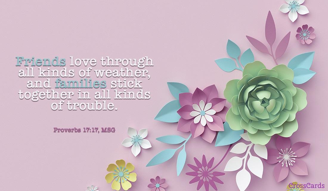 Proverbs 17:17, MSG ecard, online card