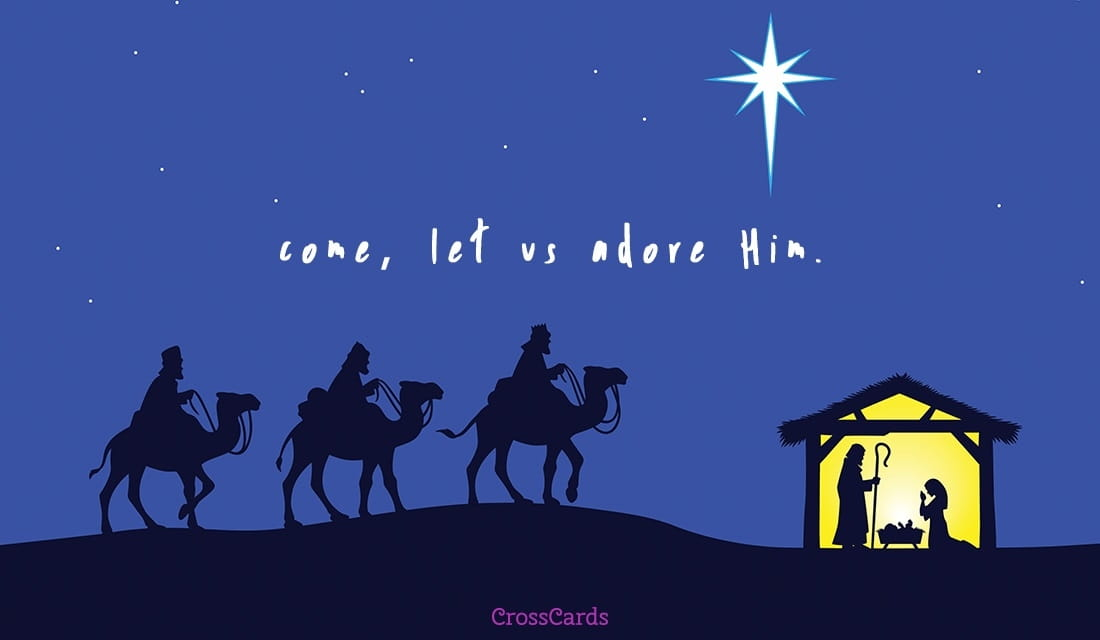 come let us adore him - Free Christmas Ecards Animated