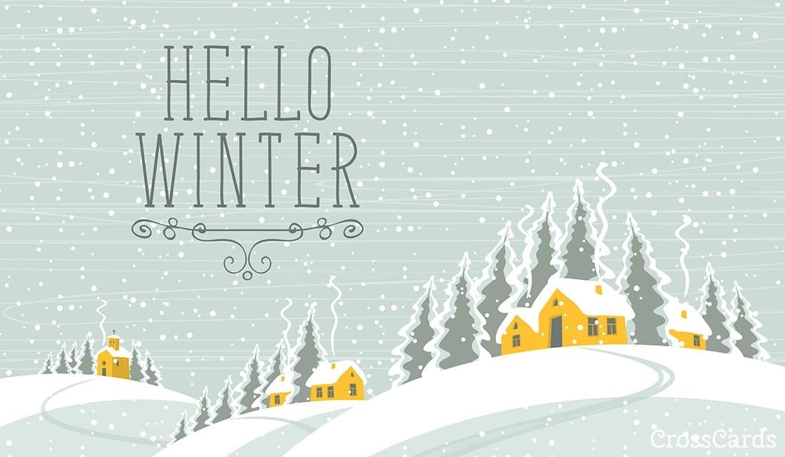 Hello Winter ecard, online card