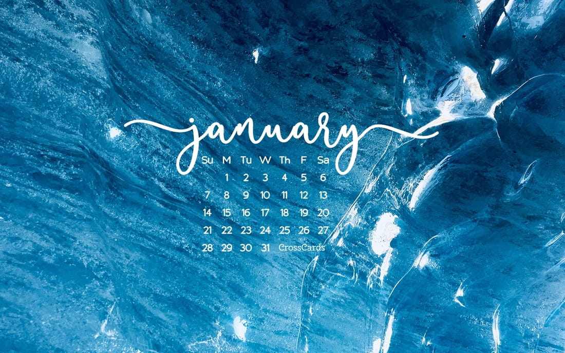 January 2018 - Blue mobile phone wallpaper