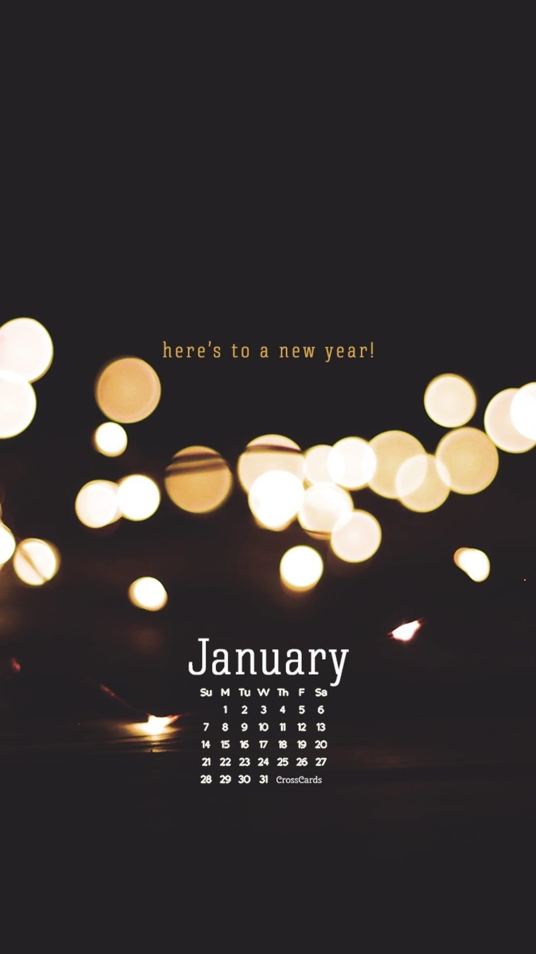 January 2018 - Here's to a New Year mobile phone wallpaper