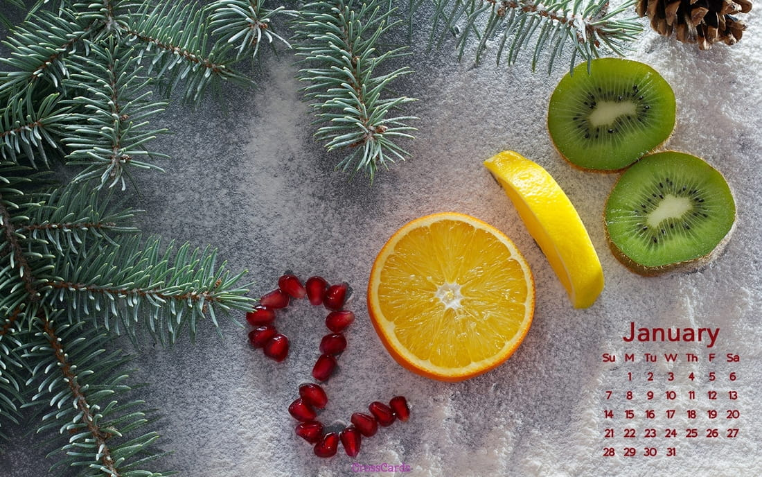 January 2018 - Fruit mobile phone wallpaper
