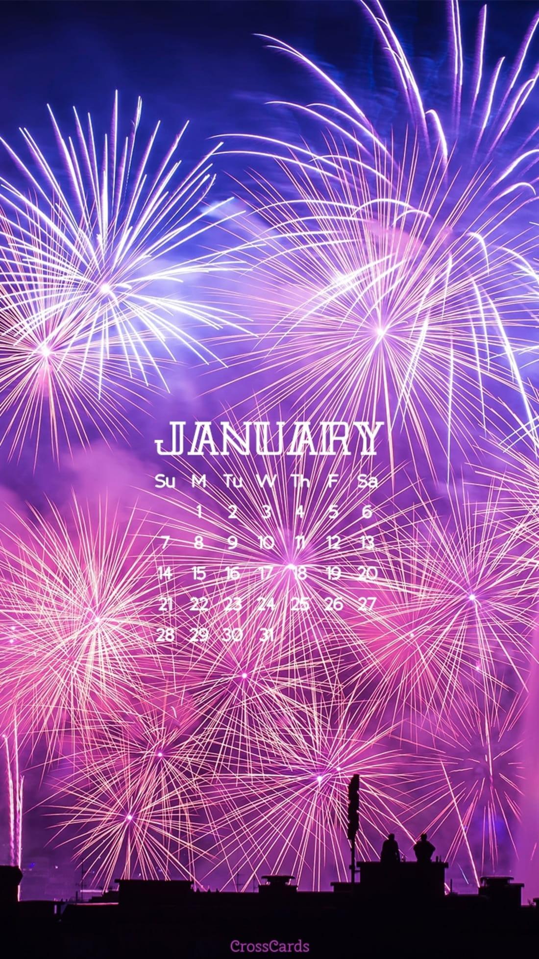 January 2018 - Fireworks mobile phone wallpaper