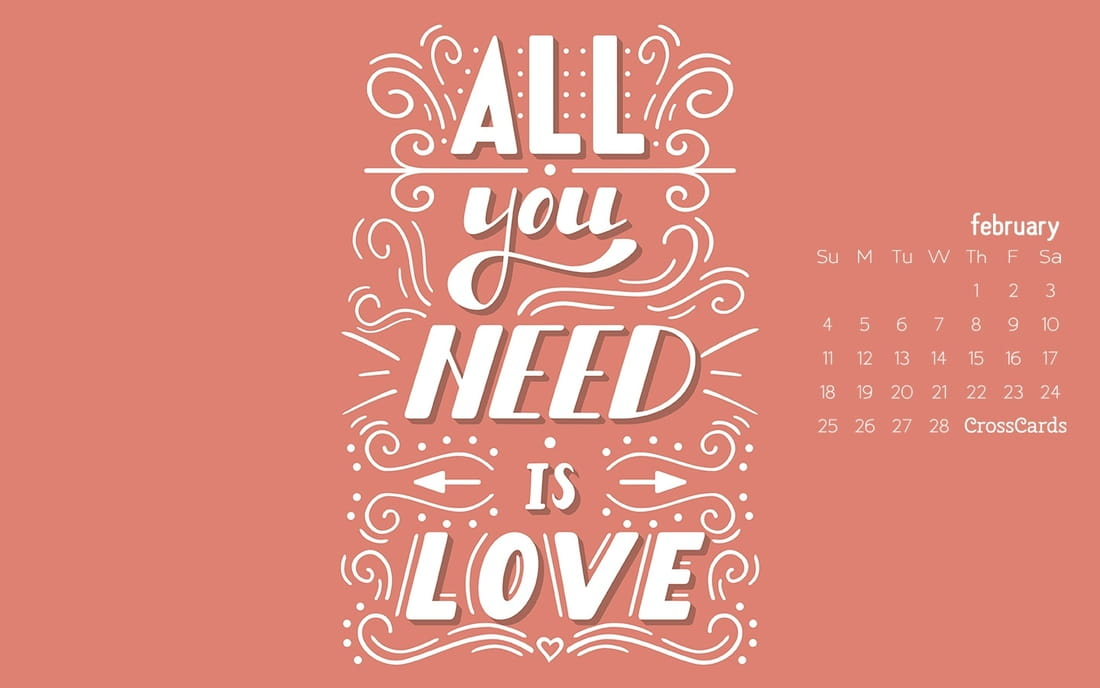 February 2018 - Love is All You Need mobile phone wallpaper