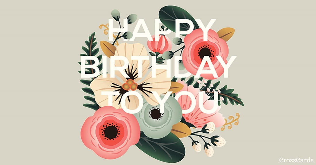 Floral Birthday ecard, online card