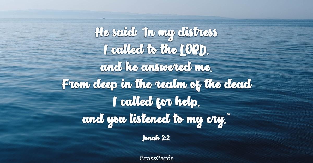Jonah 2:2 ecard, online card