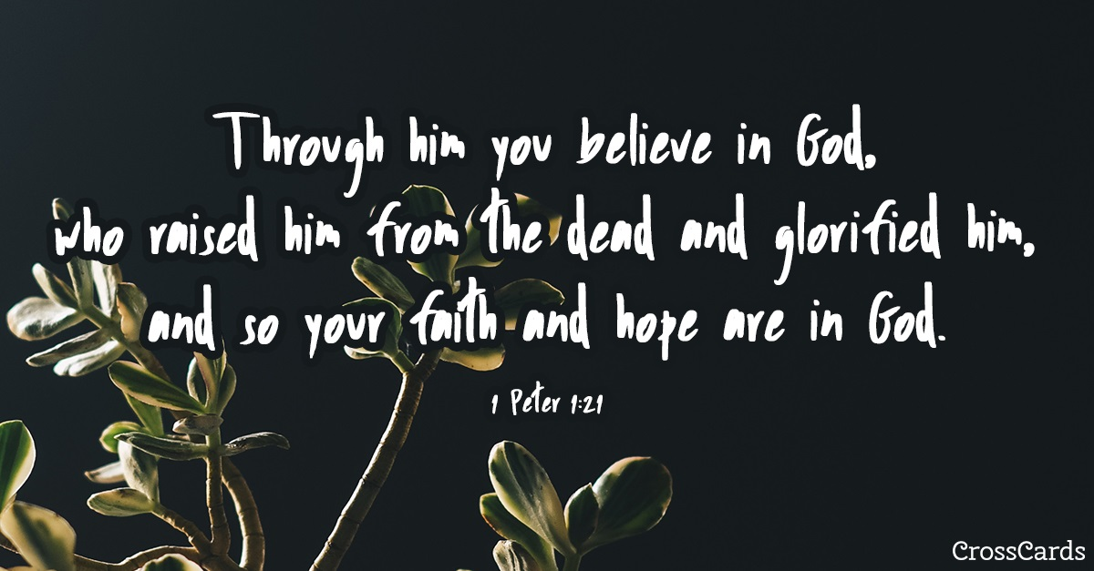 1 Peter 1:21 ecard, online card