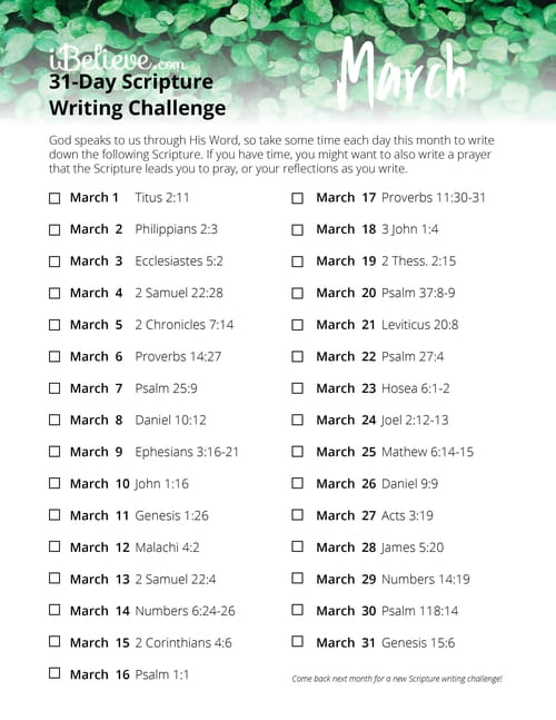 March 31 Day Scripture Writing Challenge