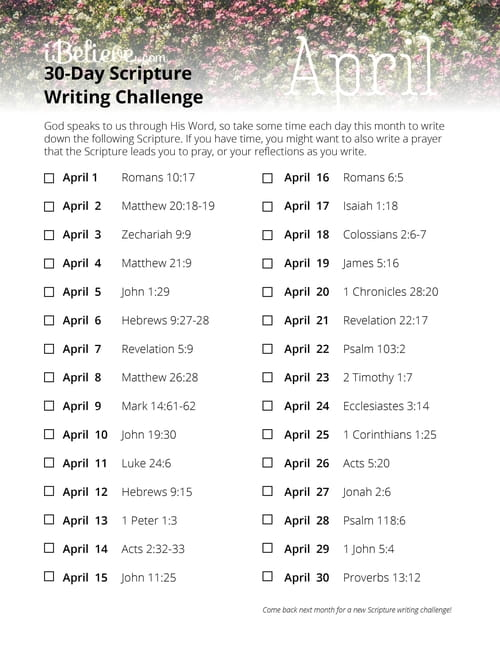 April 30 Day Scripture Writing Challenge