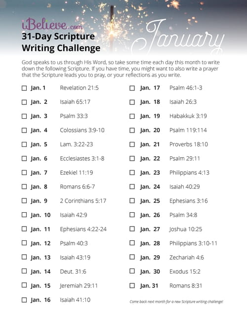 January 31-Day Scripture Writing Challenge