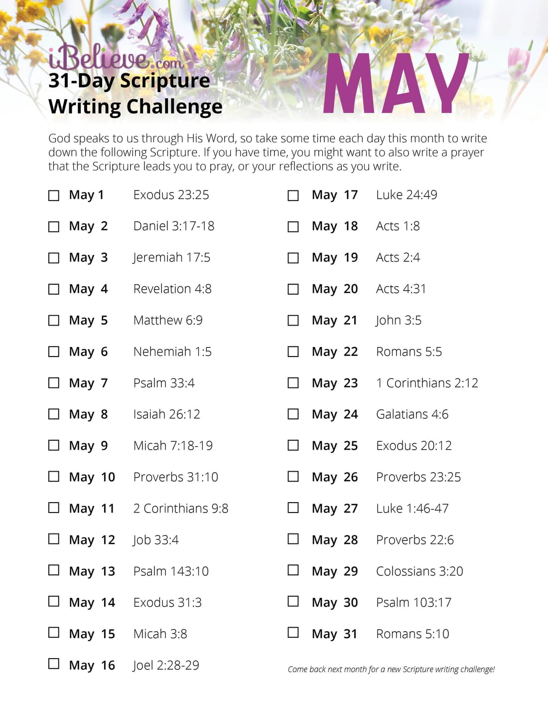 May 31 Day Scripture Writing Challenge
