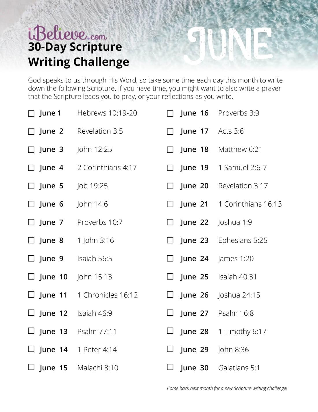 June 30 Day Scripture Writing Challenge