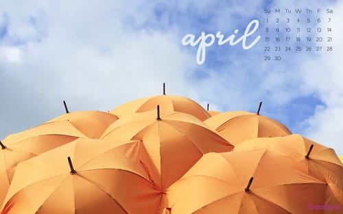 April 2018 - Umbrellas mobile phone wallpaper