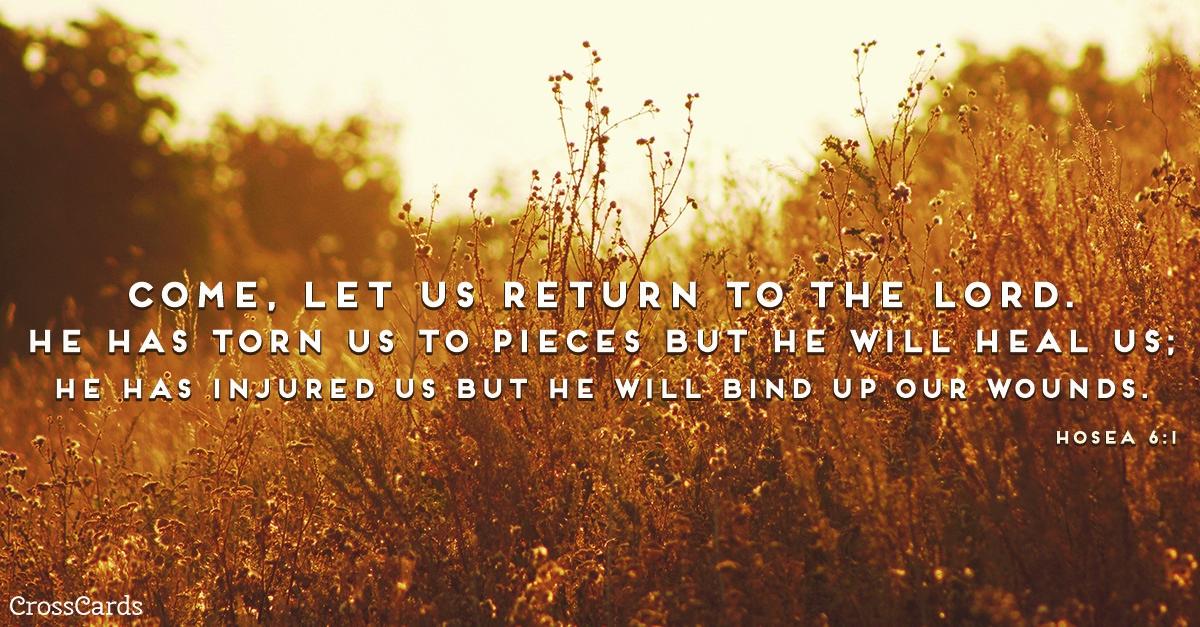 Hosea 6:1 ecard, online card