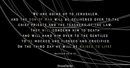 """Matthew 20:18 - """"We are going up to Jerusalem, and the Son"""