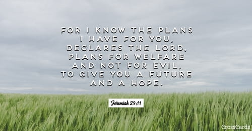 Jeremiah 29:11 - For I know the plans I have for you ...