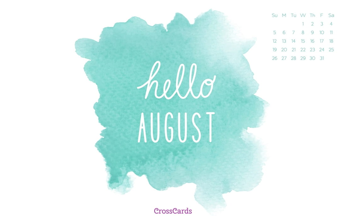 August 2018 - Hello August ecard, online card