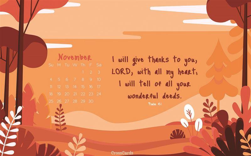 November 2018 Orange Sky Desktop Calendar Free November